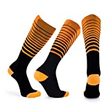 3 Pair Compression Socks Men & Women (6 Colors) Stripes, Flight Travel & Maternity Pregnancy And Lessen Discomfort And Swelling Socks Orange L/XL (50-52)