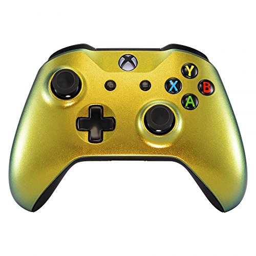 - eXtremeRate Gold and Green Chameleon Front Housing Shell Faceplate for Microsoft Xbox One X & One S Controller