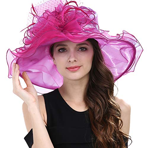 Janey&Rubbins Women's Kentucky Derby Racing Horse Hat Church Wedding Dress Party Occasion Cap (Hot Pink)