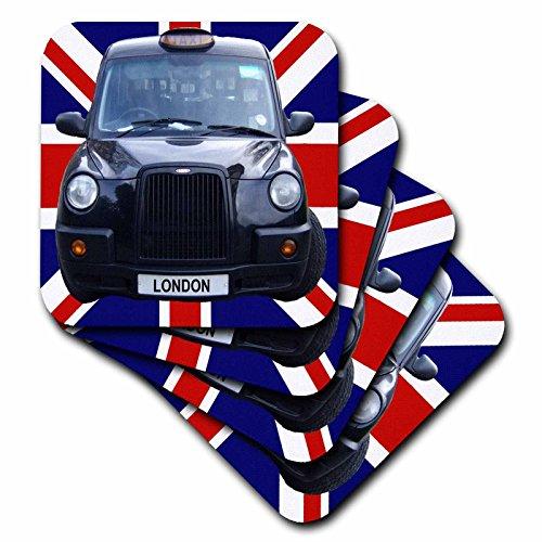Black Cabs London (3dRose cst_113050_3 London Black Taxi Cab on British Flag Union Jack Background Uk Great Britain United Kingdom Travel Ceramic Tile Coasters, (Set of 4))