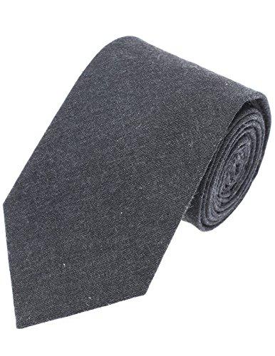 FLATSEVEN Mens Designer Classic Solid Color Neck Tie Cotton (YA006) Charcoal - Charcoal Grey Necktie