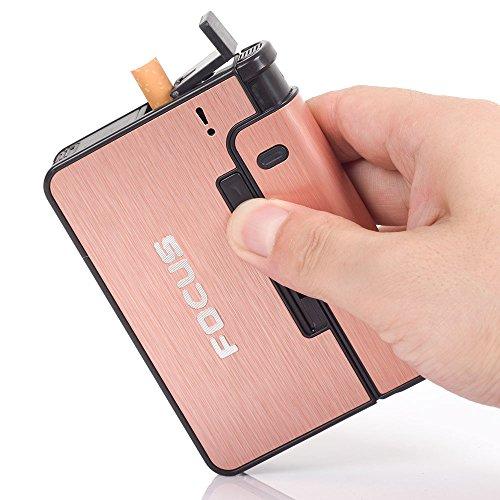FOCUS Aluminium Alloy Automatic Cigarette Case Box Lighter Case Holder (Pink)