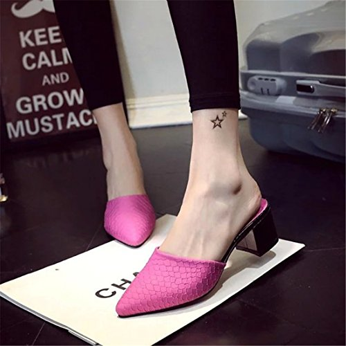 Womens Classic Casual Backless Platform Slip-On Chunky Block Heel Mules QC3Q21H Purple Q1zW7V1vRa