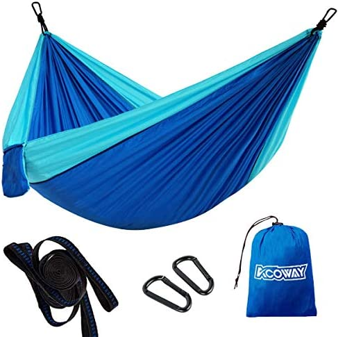 Hammock Camping Double,Hammocks for Trees with 2 Tree Straps, Camping Hammock Lightweight Travel Parachute,Indoor Outdoor Double hammock Backpacking for Travel, Beach, Backyard, Patio, Hiking,Blue