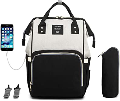 Mummy Nursing Backpack Waterproof Diaper Bag USB Charging Large Capacity LEQUEEN