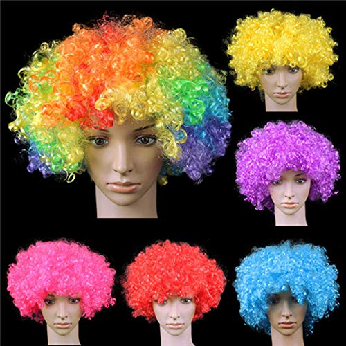 Funny Party Wig Big-Haired Curly Hair Disco Rainbow Afro Clown Wig Football Fan Costume Party Costume HFC08 Chocolate M