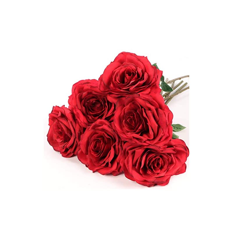 """silk flower arrangements larksilk red roses for every occasion, six artificial silk roses with 20"""" stems, perfect for centerpieces, wedding dècor, home decor, event decor, vases"""