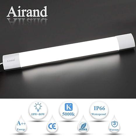 Luz de tubo LED, Airand 120CM 36W LED IP66 Luminaria de Taller Luz de Techo Impermeable a Prueba de Agua 5000K Lámpara LED Blanco Frío para Garaje ...