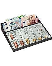 Wedo 160958049 - Caja de monedas con compartimiento de billetes y tira fija con ranura para monedas, 270 x 255 x 65 mm, negro/blanco