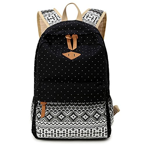 Amazon.com: Dosane Cute Black Canvas Dot Printing Lightweight College Bookbags School Backpacks Girls Boys Backpack: Clothing