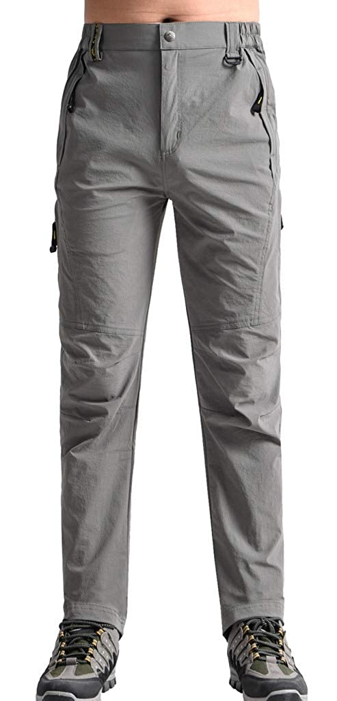 Light Grey XLarge Aufgevals Men's Outdoor Quick Dry Stretch Mountain Hiking Pants Breathable Cargo Pants