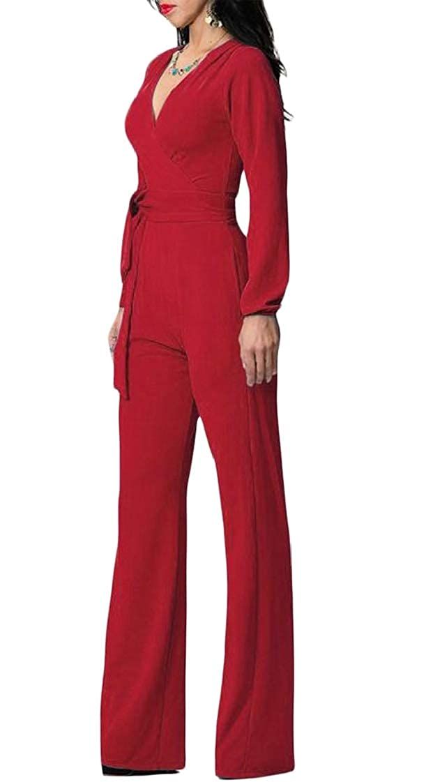 Lutratocro Womens Pocket Belt Fashion V-Neck Cross Back Zipper Wide Leg Playsuit Jumpsuits