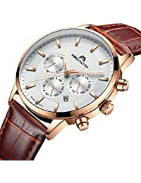 Mens Watches Men Chronograph Waterproof Sport Date Luxury Analogue Wrist Watch with Genuine Leather Strap