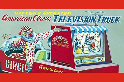 The original box art for a battery operated tin toy of a truck with a television on it a technological marvel of the time along with a clown driver The gimmick for kids was to combine two passions TV