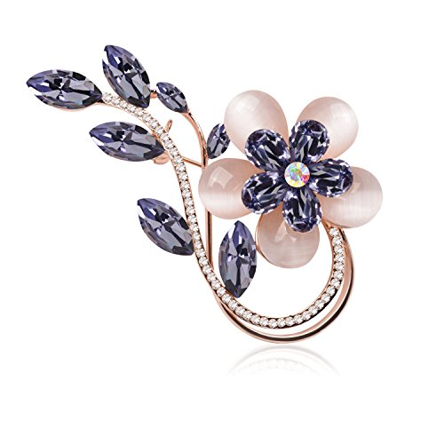 Ginasy Fashion Brooch Lapel Pin Shawl Clip Corsage in Crystal Rhinestone Alloy, Jewelry Accessory Gift For Women Men (Flower Navy 2.24