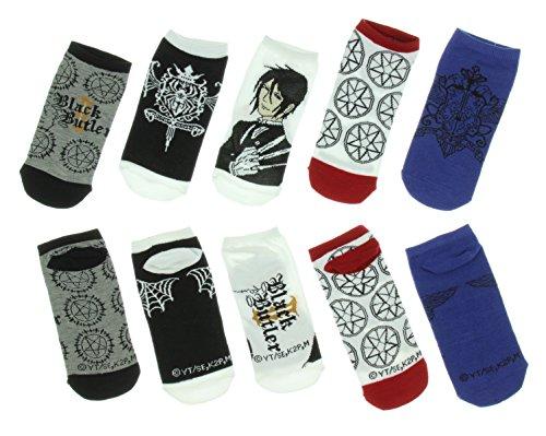 Black Butler Stripe No-Show Socks 5 Pair