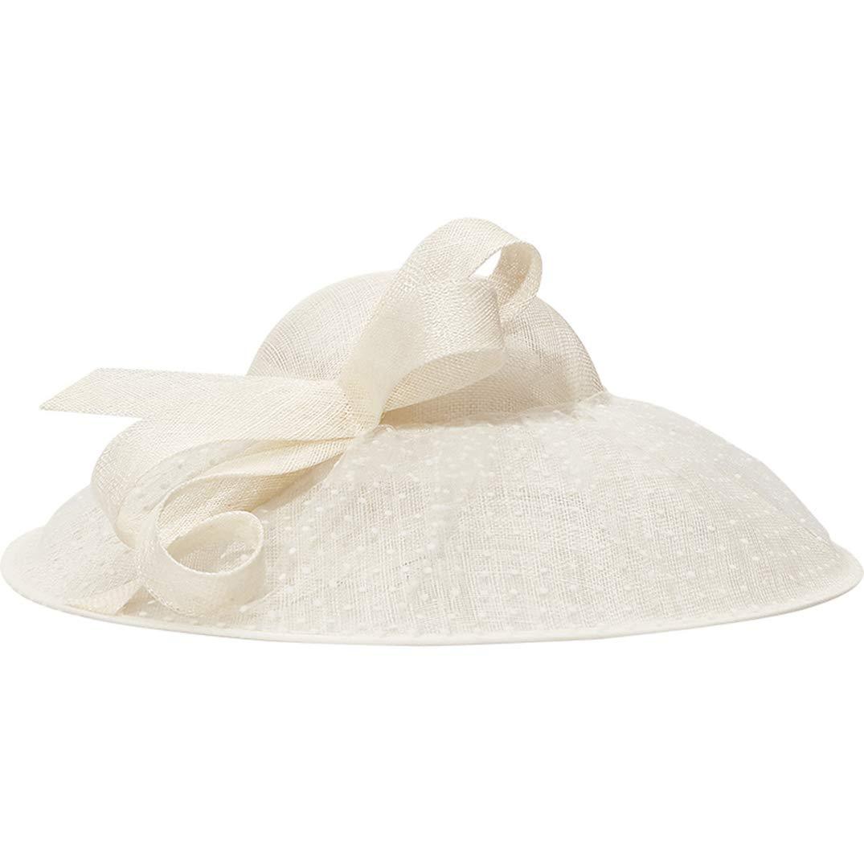 Women Fascinators Large Big Brim 100% Natural Linen Church Hat Kentucky Derby Church Cocktile Headdress White