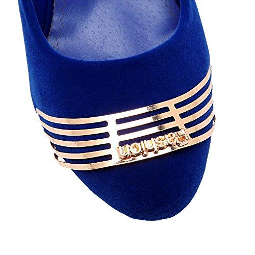 Azzurro VogueZone009 Punta Tirare Donna Plastica Tonda Ballerine Punta Alto Chiusa Tacco Puro PqrPOB