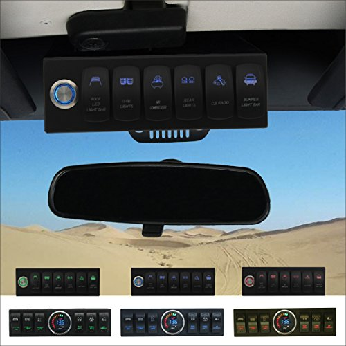 Apollointech Pro Jeep Wrangler JK & JKU 2007-2018 Overhead 6-Switch Pod/Panel in Blue Backlight with Control and Relay Box (Comes with 12 Laser Switch Covers) -