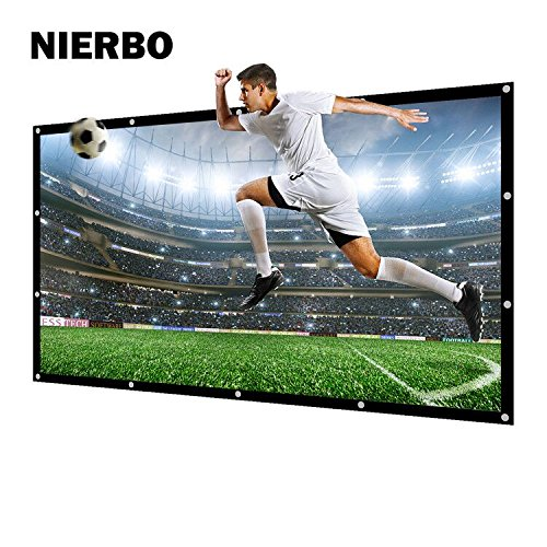 Projector Screen 120 Inch 16:9 NIERBO Portable Movies Screen HD Projection Screen for Home Indoor Outdoor 120' Projector