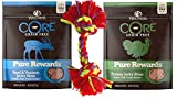 Wellness CORE Grain Free Pure Rewards 2 Flavor Variety with Toy Bundle: (1) Beef & Venison Jerkey Bites, (1) Turkey Jerky Bites, 4 Oz. Ea.