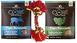 Wellness CORE Grain Free Pure Rewards 2 Flavor Variety with Toy Bundle: (1) Beef & Venison Jerkey Bites, (1) Turkey Jerky Bites, 4 Oz. Ea.