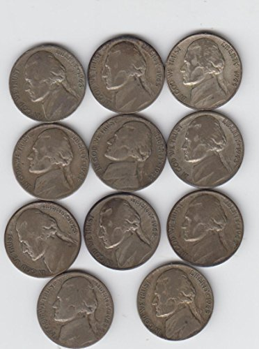 1942 Thru 1945 P-D-S Jefferson Wartime Silver Nickels Complete Set (11) Coins Total Good--Very Good ()