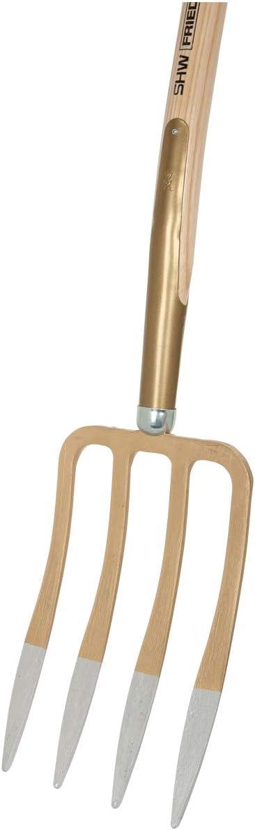 SHW 54370 Spatengabel mit 4 Lanzenzinken Stahl Geschmiedet Geh/ärtet mit Eschenstiel T-Griff Stiell/änge 85 cm