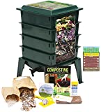 """Worm Factory 360 Worm Composting Bin + Bonus """"What Can Red Wigglers Eat?"""" Infographic Refrigerator Magnet (Green) - Vermicomposting Container System - Live Worm Farm Starter Kit for Kids & Adults"""