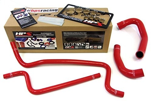 TJ 4.0L Left Hand Drive HPS Red Reinforced Silicone Radiator + Heater Hose Kit ()
