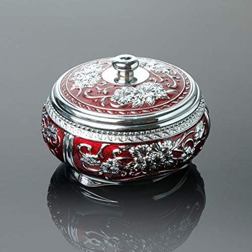 CQ ヨーロピアンスタイルのレトロ灰皿付きのふたパーソナリティクリエイティブファッションリビングルームオフィス灰皿のギフト (Color : Silver)