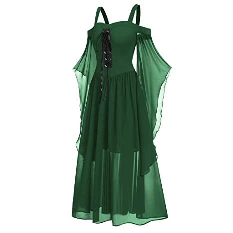 Fossenfeliz Disfraz de Reina Gótico Elegante Halloween Tallas Grandes - Vestido de Mujeres - Falda Larga de Diosa del Temperamento de Fiesta de ...