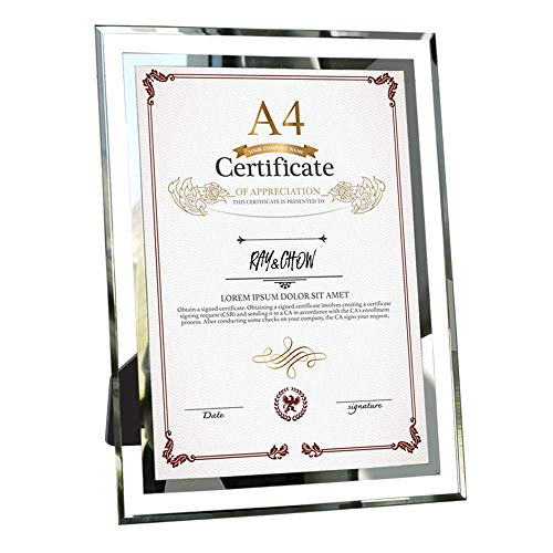 Ray & Chow A4 Glass Document Frame 21x29.7 cm Diploma Graduation Certificate Frame, Silver Border