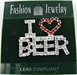 I Heart Beer Rhinestone Word Brooch Pin with Clear and Red Crystals