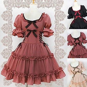 Amazon.com: ALOHAAAAAA Elegant Women Gothic Lolita Dress Bandage ...