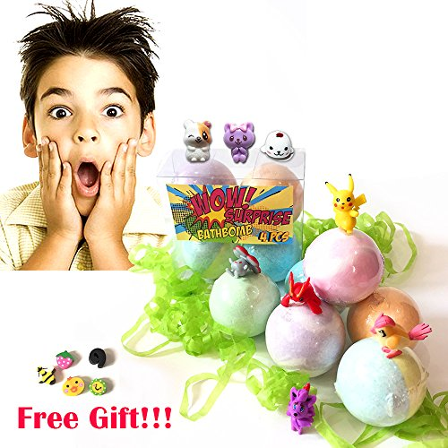 KIDS Bath Bombs Gift Pink, Green & White with Surprise Toys Inside, for Boys & Girls Lush Scent Bath Fizzies 4 pcs.Random Toy (Homemade Gift Basket Ideas For Parents)