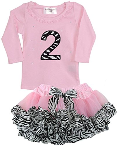 [Bubblegum Divas Little Girls 2nd Birthday Pink Zebra Print Animal 2pc Outfit 3] (Jungle Outfit)
