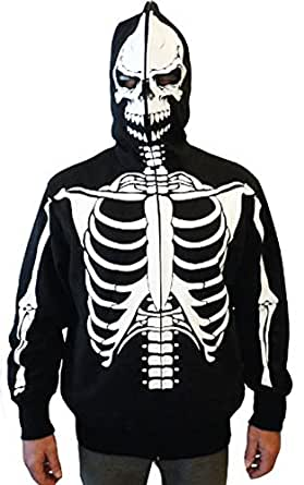 Full-Zip Up Skeleton Print Adult Hooded Sweatshirt Hoodie Costume with Face Mask (X-Small)