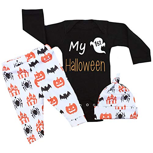 Baby Halloween Outfit Newborn Boy Girl My First Halloween Rompers and Pumpkin Pants with Hat Costumes(0-3 Months) -