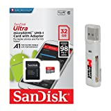 SanDisk Ultra A1 32GB MicroSD HC Class 10 UHS-1 Mobile Memory Card for Samsung Galaxy S8 S8+ Plus with USB 2.0 MemoryMarket Dual Slot MicroSD & SD Memory Card Reader