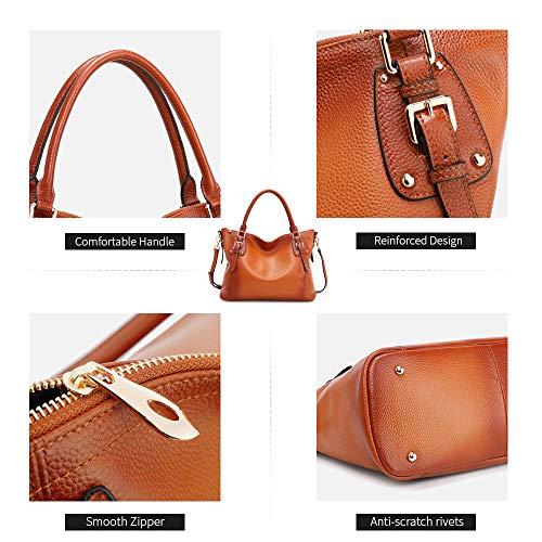 Kattee Women's Genuine Leather Handbags Shoulder Tote Organizer Top Handles Crossbody Bag Satchel Designer Purse 3