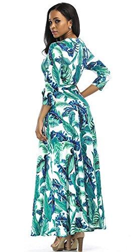 Aecibzo Femmes Robes Wrap Faux Imprimé Floral Bohème Paris Maxi Longue Avec Ceinture Verte