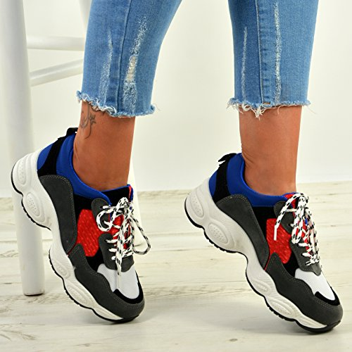Donna 8 3 Taglia New Running Lace Blu Scarpe Da Gym Uk Fashion Ginnastica Cucu Up Womens 6vTxOq