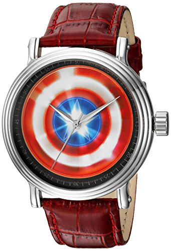 Marvel Men's 'Captain America' Quartz Metal Casual Watch, Color:Red (Model: WMA000022)