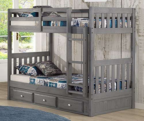 Discovery World Furniture Charcoal Twin Over Twin Bunk Bed