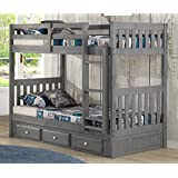 Discovery World Furniture Charcoal Twin over Twin Bunk Bed With 3 Drawer Storage