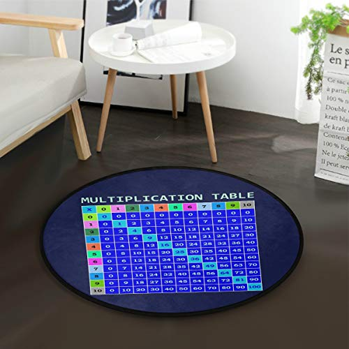 3' Round Template - ALAZA Multiplication Table Template Math Round Area Rug for Living Room Bedroom 3' Diameter(92 cm)