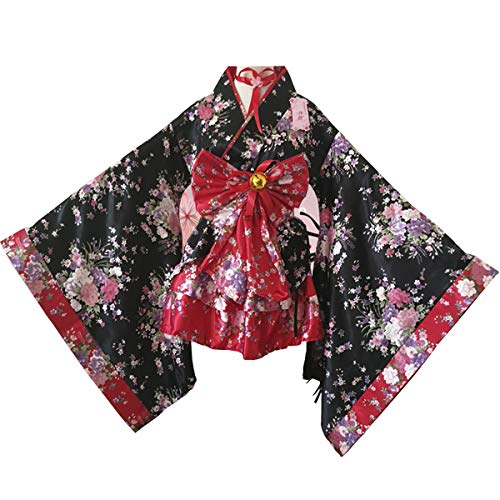 iCos Girl's Anime Cosplay Lolita Dress Cute Halloween Japanese Kimono Cosplay Costume (Kids Medium, Red)]()