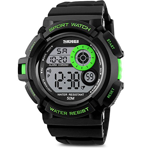 Aposon Mens Boys Kids Sport Running Watch, Digital Electronic 50M Waterproof Military Army Sports LED Wristwatch Water Resistant with Stopwatch Unique Dial 7 Color Changeable Backlight - Green