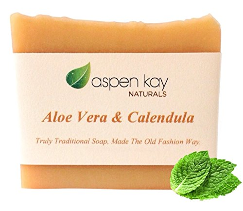 Aloe Vera & Calendula Soap, 100% Natural & Organic, With Organic Aloe Vera, Calendula & Turmeric. Use As a Face Soap, Body Soap or Shaving Soap. For Men, Women, Teens - Aspen Women For